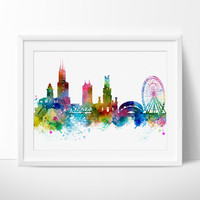 Chicago Skyline, Chicago Wall Art, Chicago Poster, Cityscape Art Print, City Wall Art, Cities Skylines, Watercolor, Chicago Art Print (262)