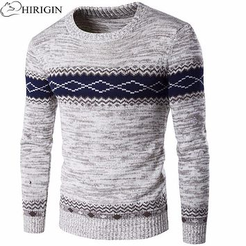 HIRIGIN European Men's Sweater Plus Cashmere O Neck Collar Sweater Diamond-shaped Pullovers Auturm Winter Men Knitted Sweater