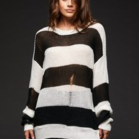 Line Up Black and White Striped Distressed Knit Sweater
