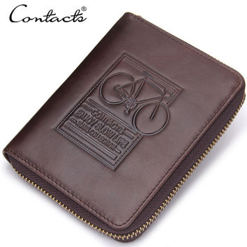 Men Leather Zippers Stylish Multi-function Print Wallet [9026421571]