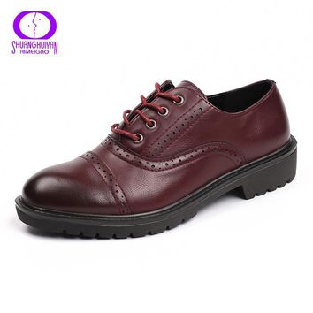 2017 Fashion Woman Spring Autumn Flat Oxford Shoes British Style Vintage Shoes Soft Ge