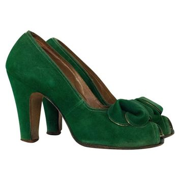 30s Paradise Shoes Green sued Heel