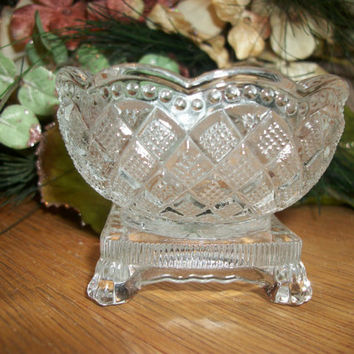 Vintage AVON Fostoria Lead Crystal Dish Candle Jar Ring Trinket Dresser or Vanity Table Dish Candy Nut Condiment Sugar Bowl Ornate Regal