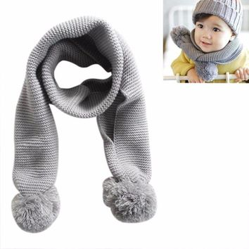 MUQGEW Baby Kids Winter Solid Color Double Ball Warm Knitting Wool Scarf Baby Clothes Bavoir Bandana Q05