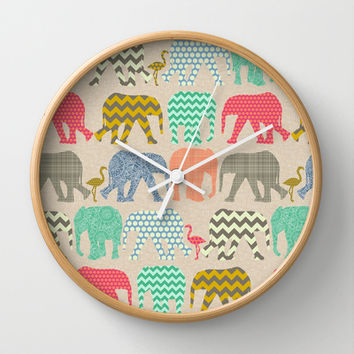linen baby elephants and flamingos Wall Clock by Sharon Turner | Society6