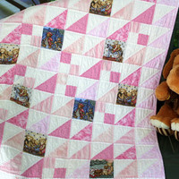Baby Quilt in pink and white with adorable teddy bears - quilted baby blanket