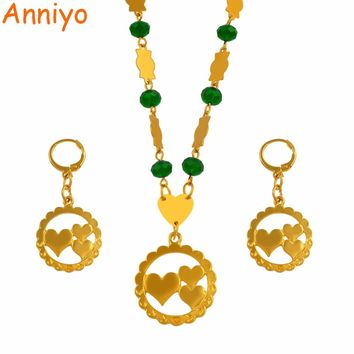 Anniyo Heart Pendant Necklaces Earrings With Colored Beads Jewellery sets Moms Gifts Gold Color Trendy Islands Jewelry #118306S