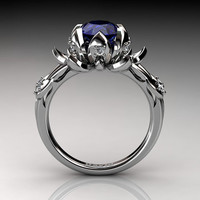 Nature Inspired 950 Platinum 2.0 Carat Oval Blue Sapphire White Diamond Lotus Flower Engagement Ring R1013-PLATDBS