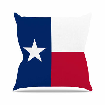 """Bruce Stanfield """"Texas Flag"""" Red Blue Throw Pillow"""