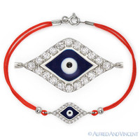 Evil Eye Greek Jewish Hamsa Kabbalah Charm Sterling Silver Red String Bracelet