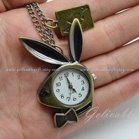 Alice in wonderland pocket watch necklace,Duke Rabbit with bow and poker A pendant Necklace NWAW05