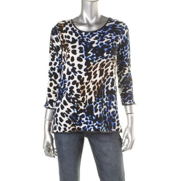 Calvin Klein Womens Faux Leather Trim Printed Pullover Top