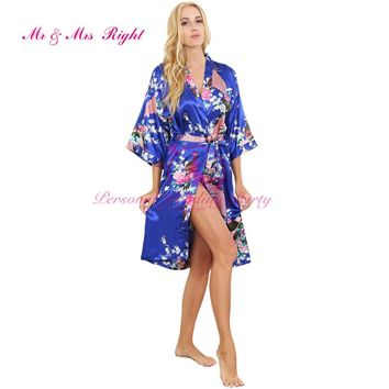 Fashion Silk Bathrobe Women Satin Kimono Nightgown For Women Floral Robe Bridesmaids Long Kimono Bride Silk Robe Dressing Gown