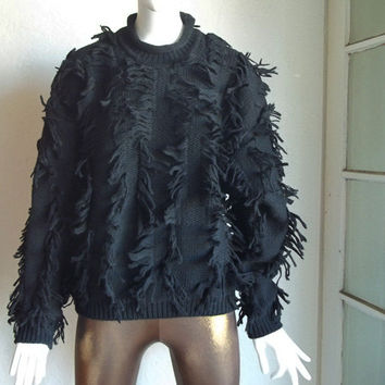 Vintage 80s GIL AIMBEZ Fringe Knit Pullover Wool Sweater L B46