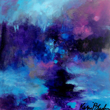 "Acrylic Landscape Painting, Small Abstract Art, Purple, Blue, Modern ""Wandering in Twilight"" 8x8"