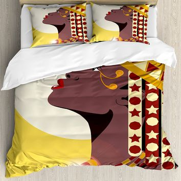 Queen Duvet Cover Set Beautiful Sexy African Woman Princess with Crown Against Sun Kissing 4 Piece Bedding Set