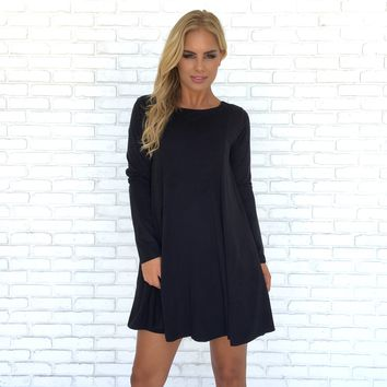 Suede & Bow Shift Dress in Charcoal