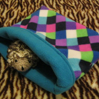Purple Harlequin Fleece Snuggle Sack for Hedgehogs/Rats/Guinea Pigs/Rabbits/Sugar Gliders