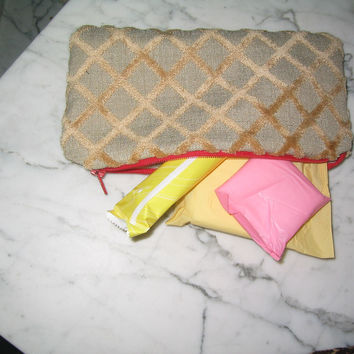 Zippered Pouches - Beige Diagonal Tile