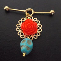 Industrial barbell 14 gauge Gold surgical steel Gothic turquoise skull red rose Day of the dead earring