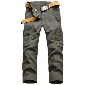 Mens Multi-pocket Casual Cotton Cargo Pants