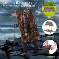 220x145CM 3 In 1 outdoor camping Hiking survival equipment Poncho Portable tool Waterproof Mat Sunshade