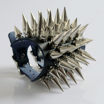 Alloy Metal Long Spiked Bracelet Wrist band A Punk Attire Rock Clothing