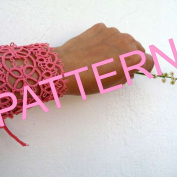"Tatting pattern  Bracelet  ""Coral"" - PDF pattern - tutorial - OOAK - shuttle tatting - needle tatting- instant download"