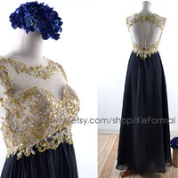 Gold Lace with Crystal  Prom Dresses,Black Open Back Formal Dresses, Long Chiffon Party Dress