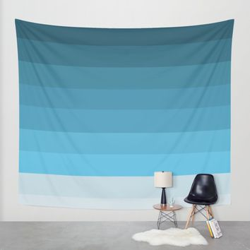 Blue Lagoon stripes pattern Wall Tapestry by Xiari | Society6
