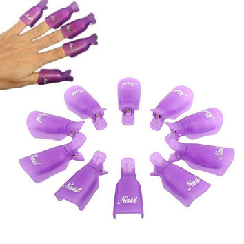 10PC Plastic Nail Art Soak Off Cap Clip UV Gel Polish Remover Wrap PP = 1958351044