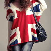 Union Jack Slouchy Soho Chic Sweater ~ Sweet Pleats Boutique 16-C65 L XL