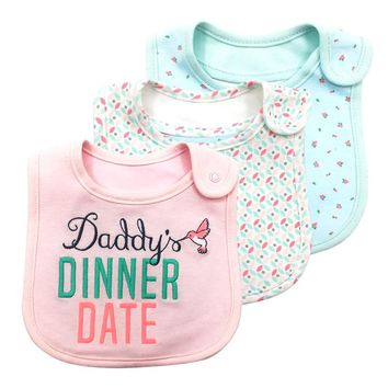 1PCS Daddy's Dinner Date Letter Baby Bibs Bandana Toddler Burp Cloths Dribble Newborn Bib