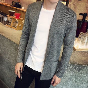 Mens Slim Casual Open Sweater