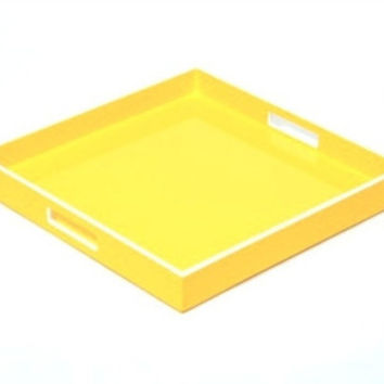 Square Yellow with White Trim Lacquer Tray | 16 x 16