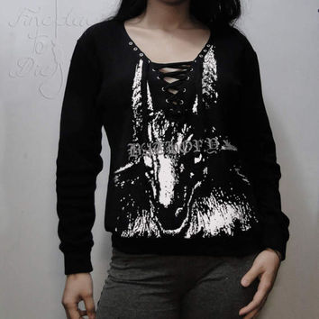 Comfy sweatshirt V lace up neck -  Bathory - Black metal - Huge Goat
