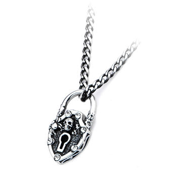 Inox 316L Steel Skull Padlock with Clear Gem Accent 18 Inch Necklace