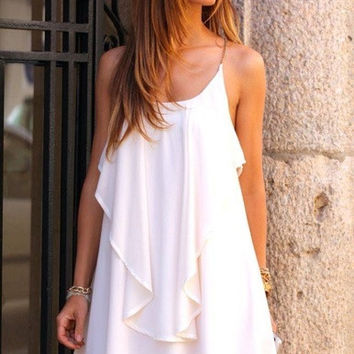 Fashion women summer holiday sexy shoulder-straps Camisole vestido chiffon mini dress = 1946252612