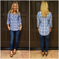 Denim Blue Plaid Top