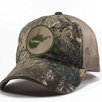 Homeland Tees Men's West Virginia Home State Realtree Camo Trucker Hat - Army Green