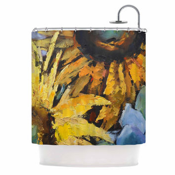 "Carol Schiff ""Sunflowers And Hydrangea"" Yellow Floral Shower Curtain"