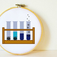 Cross stitch Pattern PDF. Instant download. Test Tube Experiment. Includes easy beginners instructions.