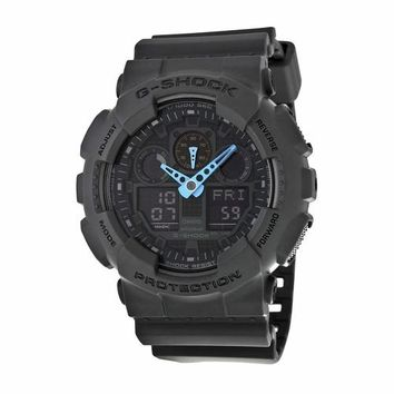 Casio Mens GA100C-8ACR G-Shock Dark Grey Resin Band With Neon Blue Accents Watch