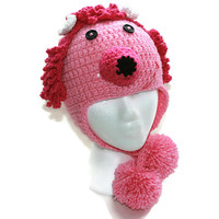 Childs poodle hat, puppy beanie, toddler dog hat girls pink puppy hat earflap childs hat