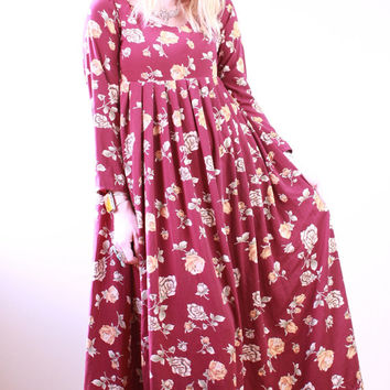 90s - Burgundy Red - Rose Floral - Pleated  Baby Doll - Long Sleeve - Maxi Dress - Romantic
