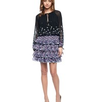 Pitch Black Peek A Peek A Boo Star Pleated Dress by Juicy Couture,