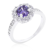 Lavender Halo Engagement Ring, size : 06