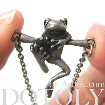 Baby Frog on a Branch Animal Charm Necklace in Silver | Animal Jewelry