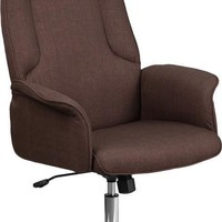 High Back Brown Fabric Executive Swivel Office Chair with Chrome Base