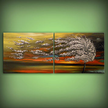 Wall Art Home Decor Large Abstract Landscape painting 22 x 56